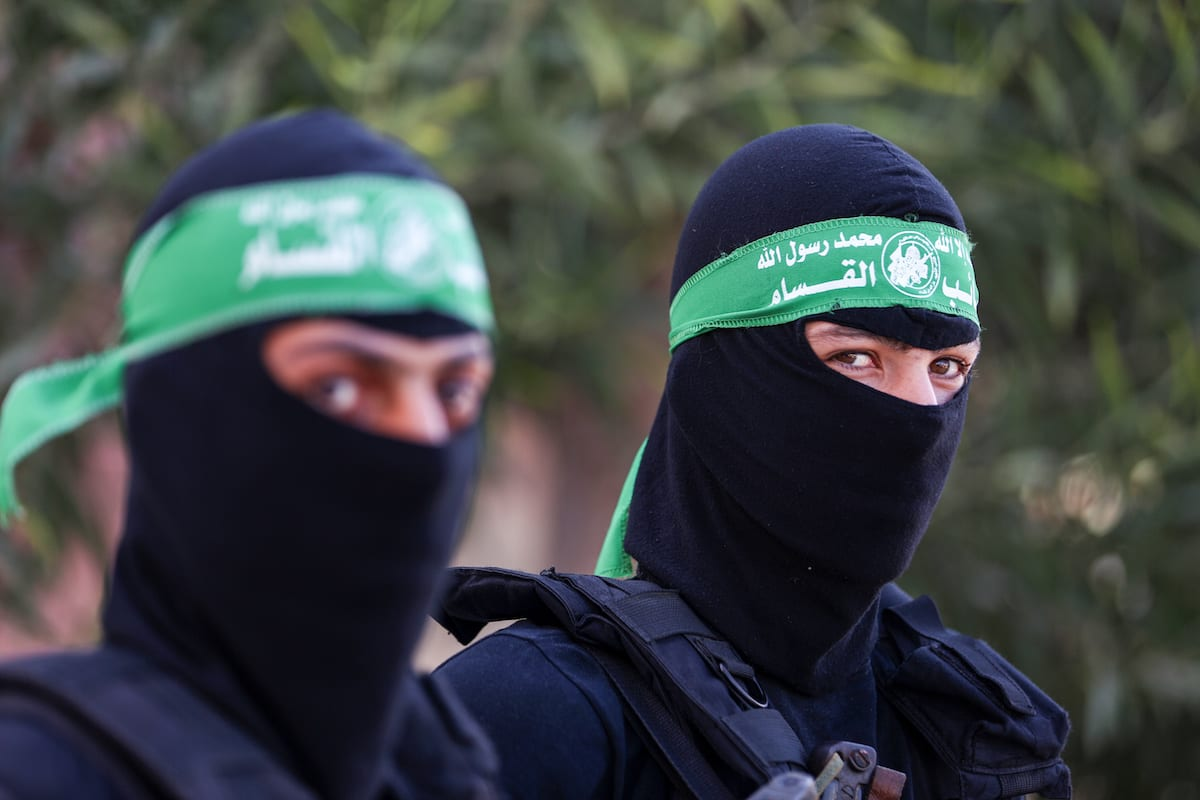 Representatives from military groups including Izzedine al-Qassam Brigades, armed wing of Palestinian Hamas and Sereya the al-Quds, the armed wing of the Islamic Jihad movement, hold a media conference during a press conference regarding the Israeli violations and restrictions against the Al-Aqsa Mosque, in Gaza City on 18 July, 2017 [Ali Jadallah/Anadolu Agency]