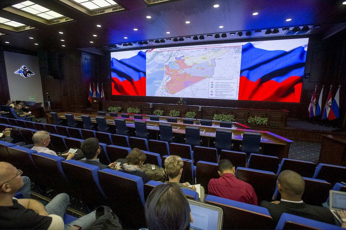 Russia's General Staff Sergei Rudskoy says it has deployed military police to monitor the cease-fire in a safe zone in the eastern suburbs of Syria's Damascus on 24 July, 2017 [Nikita Shvetsov/Anadolu Agency]