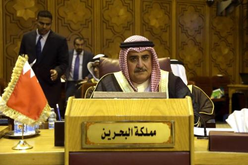 Foreign Minister of Bahrain Khalid bin Ahmed Al Khalifa attends the Arab Foreign Minister's meeting which is held to discuss Israeli violations and restrictions on Al Aqsa Mosque, in Cairo, Egypt on 27 July 2017. [Ahmed Gamil - Anadolu Agency]