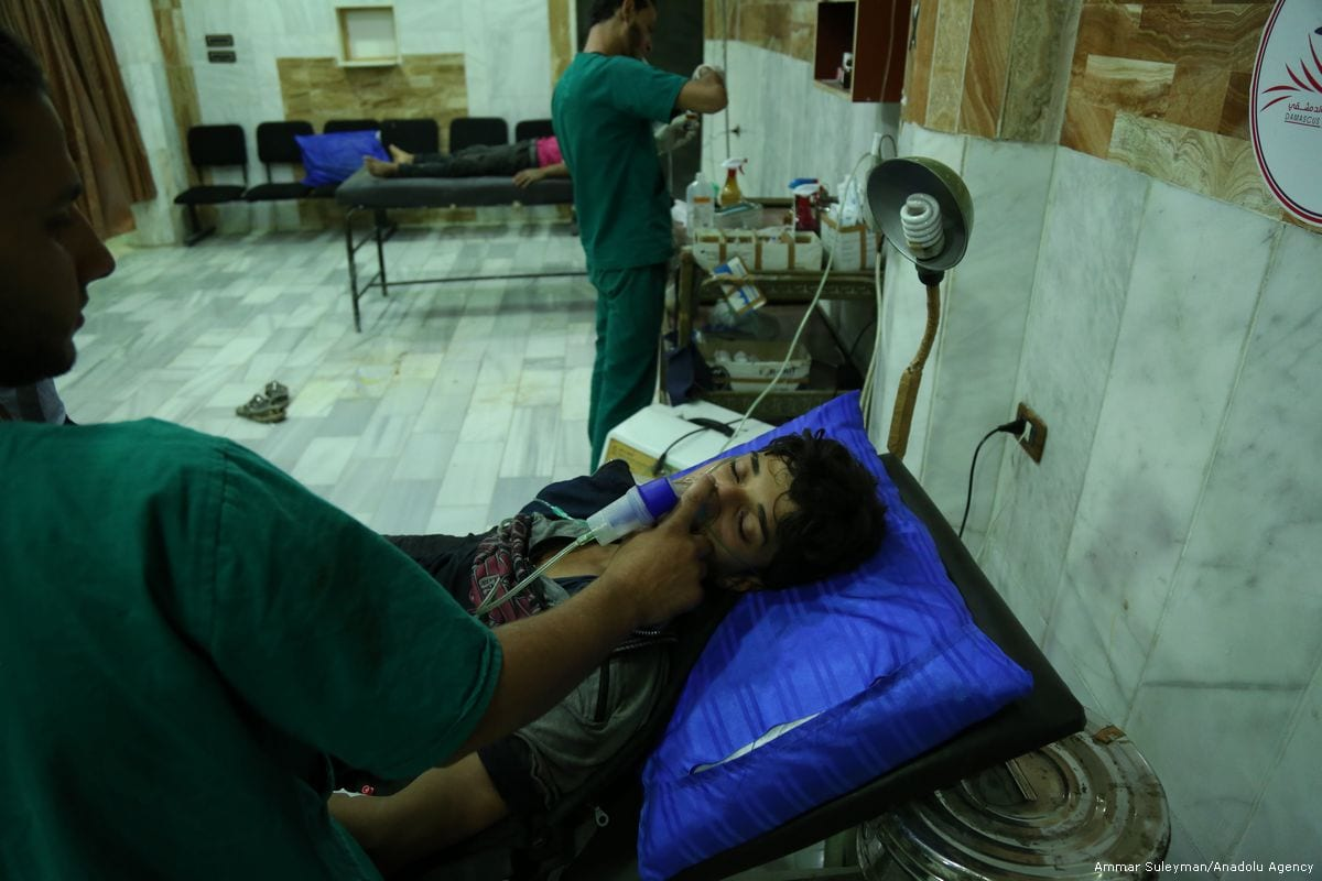 Syrians receive medical treatment after the Assad regime carried out a chemical gas attack in Damascus, Syria on 13 July 2017 [Ammar Suleyman/Anadolu Agency]