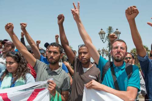 Protesters stage a demonstration in Rabat, Morocco on 16 July 2017 [Jalal Morchidi/Anadolu Agency]