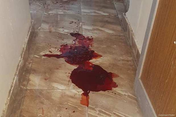 Bloodstains belonging to the manager of the National Bank of Yemen's Mansoura branch in Aden, Abdullah Salem Al-Naqib, who was shot dead during an attempted armed robbery in Yemen on 14 July 2017 [Demolinari‏/Twitter]