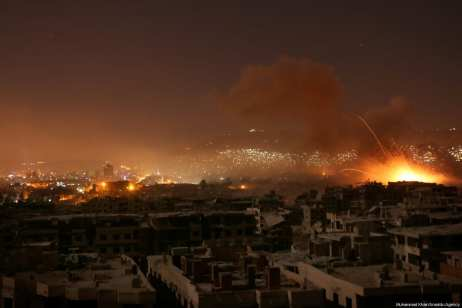 Huge fires can be seen as the Assad regime breaks the terms of a ceasefire and carries out air and ground strikes over the Ein Tarma district in the Eastern Ghouta region of Damascus, Syria on 7 August 2017. [Muhammad Khair/ Anadolu Agency]