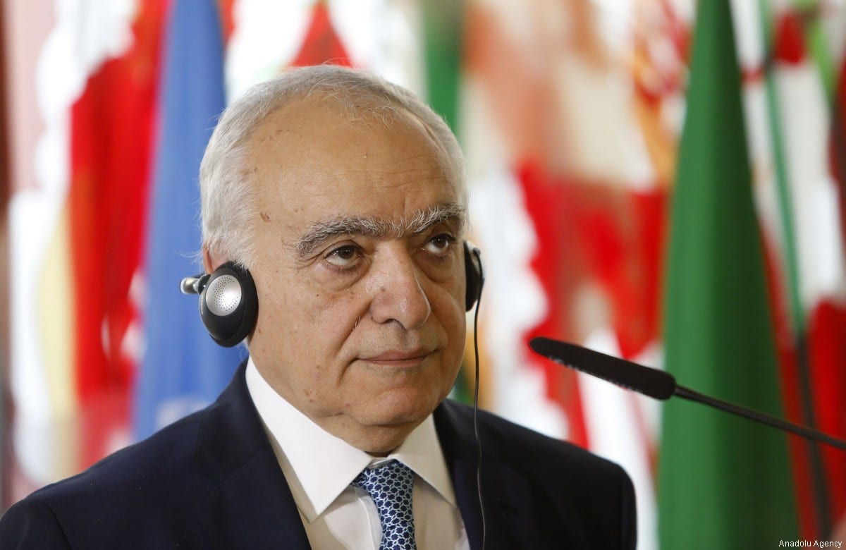 UN Special Envoy for Libya Ghassan Salame holds a joint press conference with Italian Foreign Minister Angelino Alfano (not seen) following their meeting at the Farnesina Foreign Ministry headquarters in Rome, Italy on 8 August, 2017 [Riccardo de Luca/Anadolu Agency]