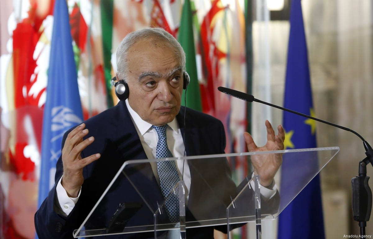 UN Special Envoy for Libya Ghassan Salame holds a press conference in Rome, Italy on 8 August, 2017 [Riccardo de Luca/Anadolu Agency]