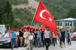 People attend the funeral of 15-year-old Eren Bulbul, who was killed by PKK militants, in Macka Province of Trabzon, Turkey on August 12, 2017 [Hakan Burak Altunöz / Anadolu Agency]