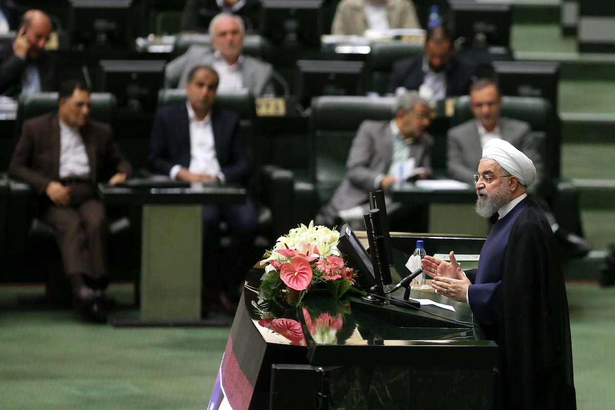 Iranian President Hassan Rouhani delivers a speech during a vote of confidence session in the President's cabinet in Tehran on August 20, 2017 ( Fatemeh Bahrami - Anadolu Agency )
