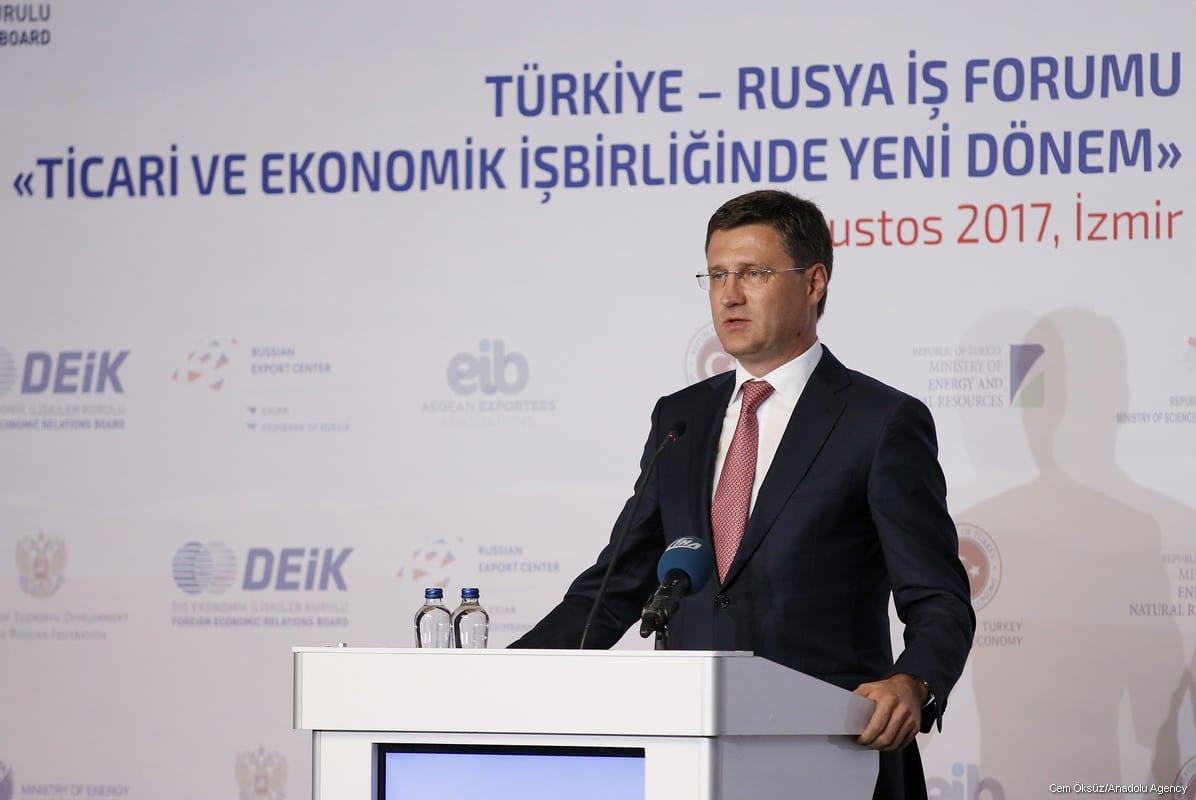 Russian Energy Minister Alexander Novak delivers a speech during Turkey-Russia business forum in Izmir, Turkey on 18 August, 2017 [Cem Öksüz/Anadolu Agency]