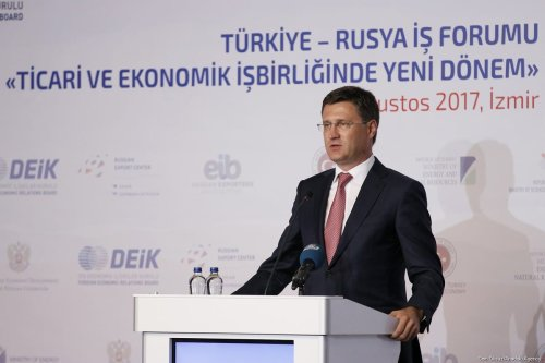 Russian Energy Minister Alexander Novak delivers a speech during Turkey-Russia business forum in Izmir, Turkey on 18 August, 2017 [Cem Öksüz/Anadolu Agency]