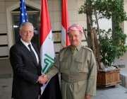 President of Iraqi Kurdish Regional Government (IKRG) Masoud Barzani (C) welcomes Secretary of Defense Minister James Mattis (not seen) in Erbil, Iraq on 22 August 2017 [Yunus Keleş/Anadolu Agency]