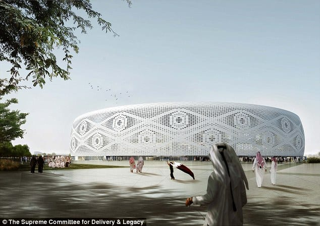 "A digital rendition of Doha's Al Thumama stadium, designed by a Qatari architect in the shape of a traditional knitted ""gahfiya"" Arabian cap, will host the World Cup quarter final match in 2022"