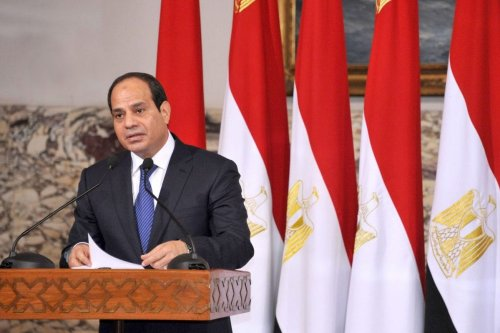 The then President elect Abdel Fattah al-Sisi delivers a speech after signing the handing over of power document in Cairo, on June 8, 2014 [Egyptian Presidency / ApaImages]