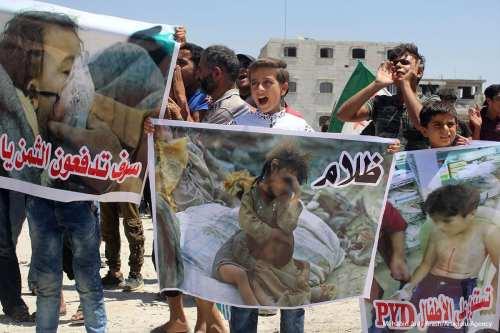 Syrians stage a protest against PKK/PYD terrorist organization in Bab district of Aleppo, Syria