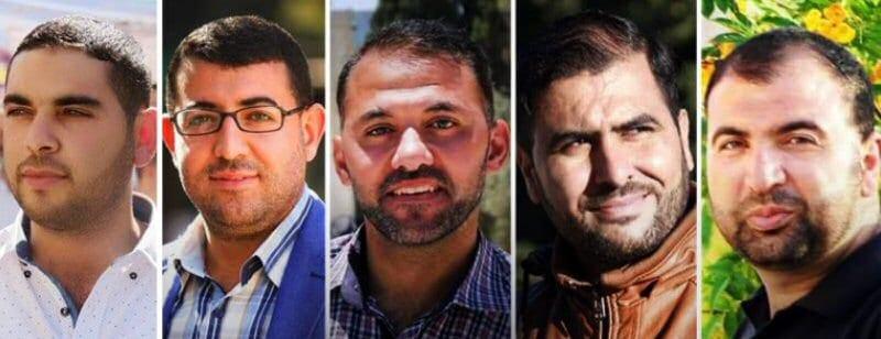 Palestinian journalists arrested on 13 August, 2017: Mamdouh Mahmoud Hamamrah, Qotaybah Saleh Qasem, Tariq 'Abdel Razeq Abu Zaid, 'Amer 'Abdul Halim Mohammed Abu 'Arafah and Mohammed Ahmed Halayqah [imemc.org]