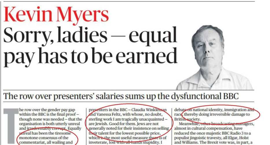 Kevin Myers offensive piece published in the Irish edition of the Sunday Times on July 30, 2017