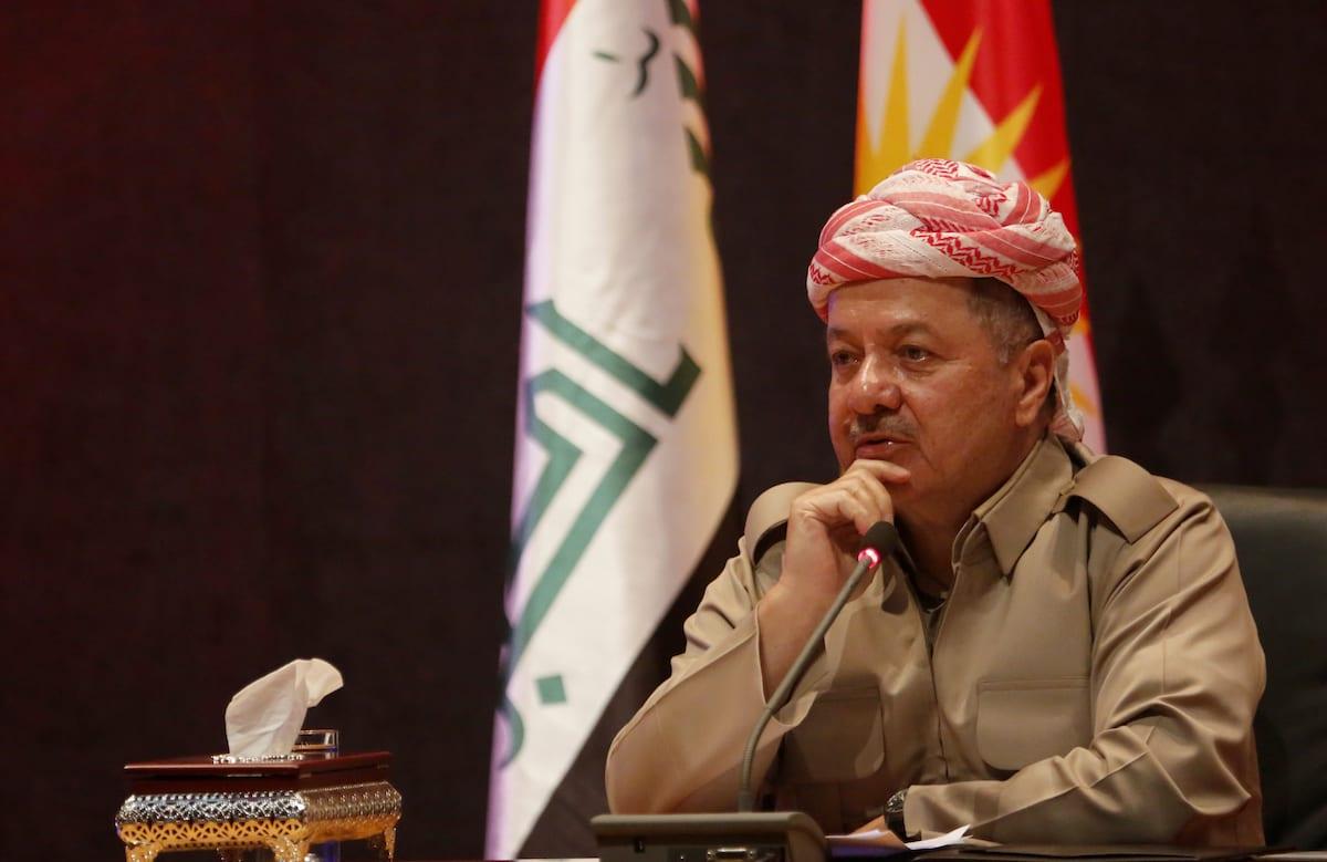 President of Iraqi Kurdish Regional Government (IKRG) Masoud Barzani speaks during a meeting 6 September, 2017 [Yunus Keleş/Anadolu Agency]