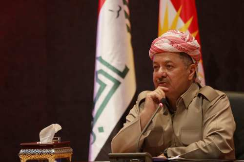 President of Iraqi Kurdish Regional Government (IKRG) Masoud Barzani speaks during a meeting 6 September, 2017 [Yunus Keleş/Anadolu Agency]