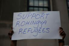 Activists stage a rally denouncingthe ongoing military operations in Myanmar's Rakhine state next to Myanmar Permanent Mission to the United Nations in New York, United States on September 7, 2017. ( Mohammed Elshamy - Anadolu Agency )