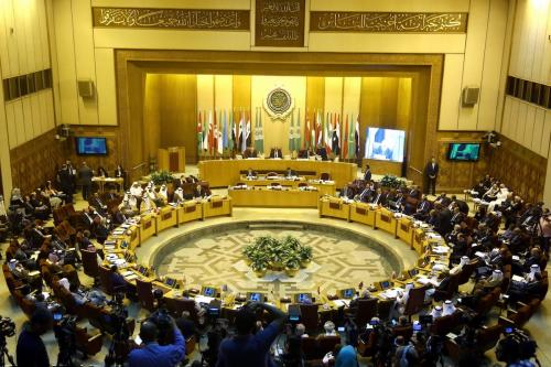 Secretary General of the Arab League Ahmed Abu Gayt (top L) and Djibouti's Foreign Minister Mahamoud Ali Youssouf (top C) attend the 148th session of the Arab League Council at the level of foreign ministers in Cairo, Egypt on 12 September, 2017 [Ahmed Al Sayed/Anadolu Agency]