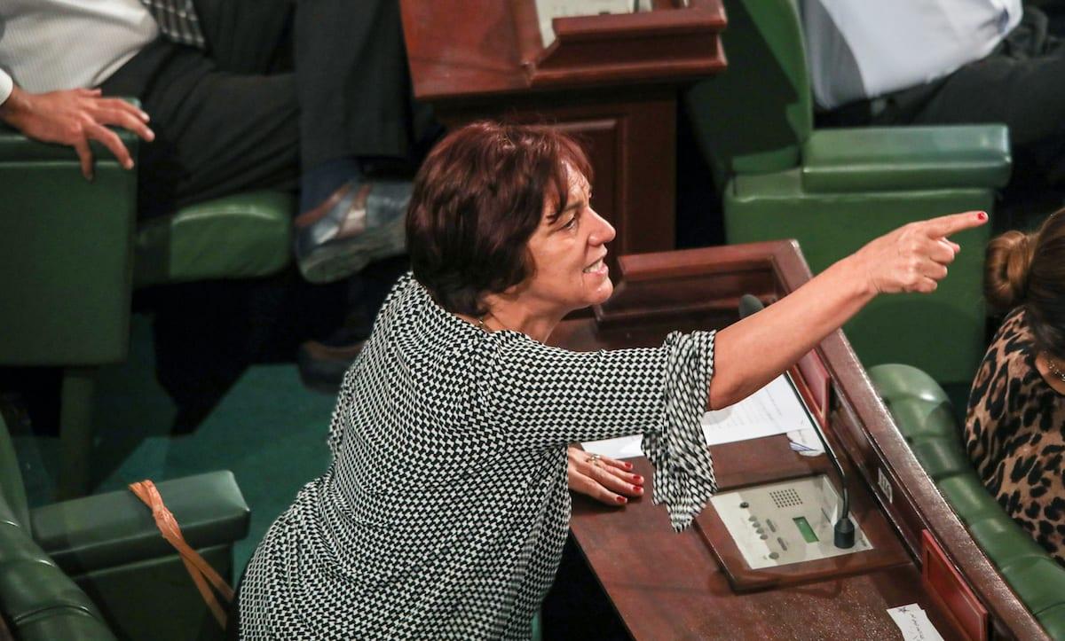 Tunisian deputy Samia Abbou during a parliament session at Tunisian Parliament in Tunis, Tunisia on 13 September 2017 [Nacer Talel/Anadolu Agency]