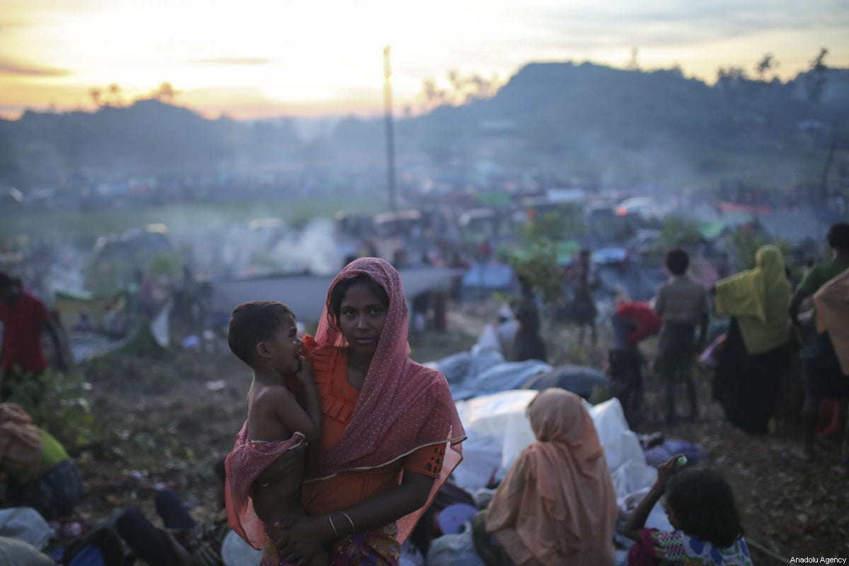 Rohingya Muslims, fled from ongoing military operations in Myanmar's Rakhine state, is seen at a makeshift camp on hills at Cox's Bazar, Bangladesh on September 17, 2017 [Zakir Hossain Chowdhury / Anadolu Agency]