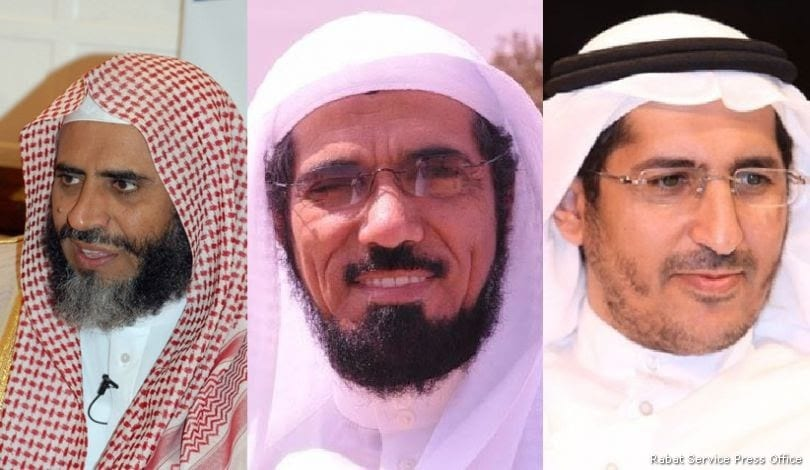 Saudi clerics (from left to right) Awad bin Mohammed Al-Qarni, Salman Al-Ouda and Ali Alomary have been arrested by authorities in an apparent crackdown on potential opponents of the conservative kingdom's absolute rulers [Rabat Service Press Office]