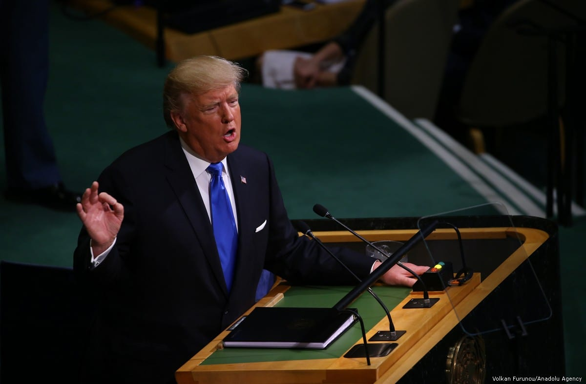 US President Donald Trump makes a speech as he attends the 72nd session of the UN General Assembly in New York, United States on 19 September, 2017 [Volkan Furuncu/Anadolu Agency]