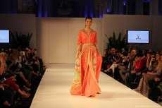 Spectators enjoy Moroccan dresses on the catwalk at London Fashion Week![Jehan Alfarra/Middle East Monitor]