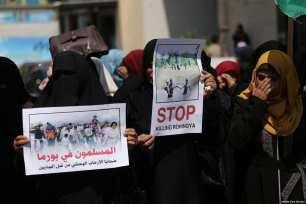 Gazan's attend a demonstration in support of the persecuted Rohingya people, on September 10, 2017 [Mohammed Asad / Middle East Monitor]