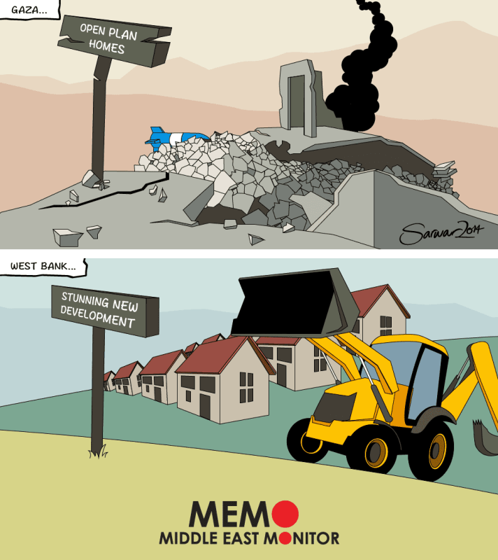 New Settlement in the West Bank Vs. demolitions in Gaza - Cartoon [MiddleEastMonitor]