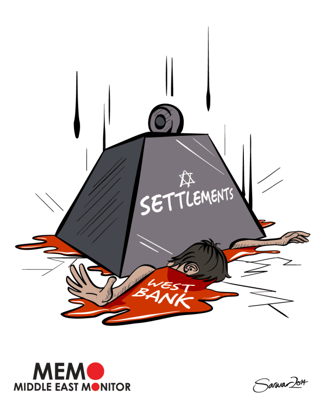 Settlement - Cartoon [Sarwar Ahmed/MiddleEastMonitor]