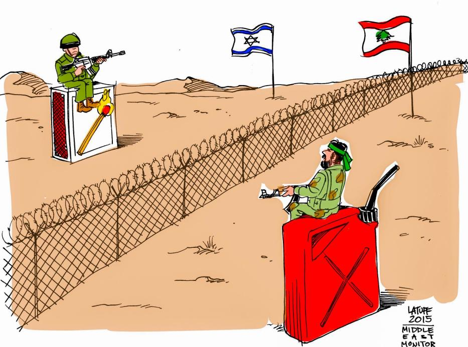 Israel, Lebanon tensions at the border - Cartoon [Latuff/MiddleEastMonitor]