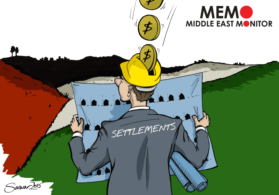 Funding for Settlements - Cartoon [Sarwar Ahmed/MiddleEastMonitor]