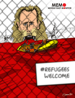 Syrian Refugees Fleeing Assad - Cartoon [Sarwar Ahmed/MiddleEastMonitor]