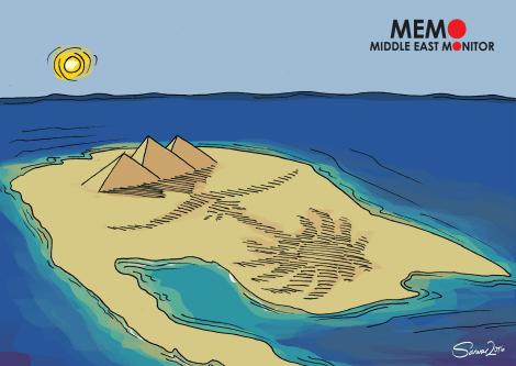 Egypt gives Saudi Two Islands - Cartoon [Sarwar Ahmed/MiddleEastMonitor]