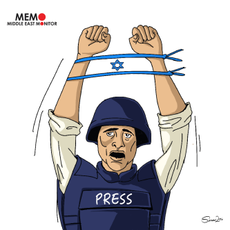 Palestinian Journalists Arrested by Israel - Cartoon [Sarwar Ahmed/MiddleEastMonitor]