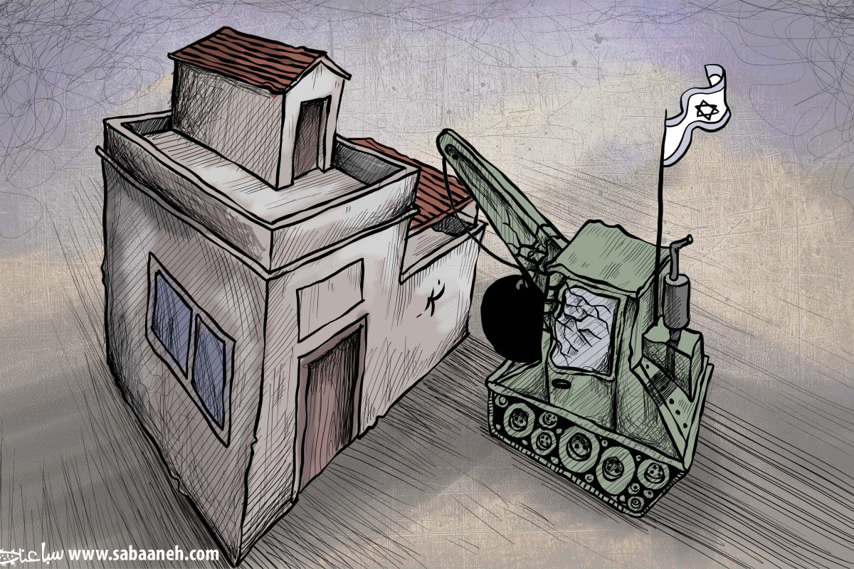 Palestinian Home Demolitions - Cartoon [Sabaaneh/MiddleEastMonitor]