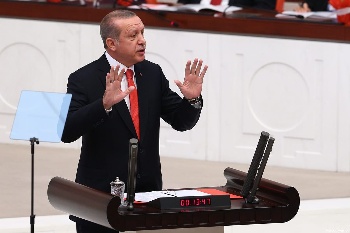 President of Turkey Recep Tayyip Erdogan addresses members of the parliament at the Turkish National Assembly (TBMM) on 1 October 2017 in Ankara, Turkey [Evrim Aydın/Anadolu Agency]