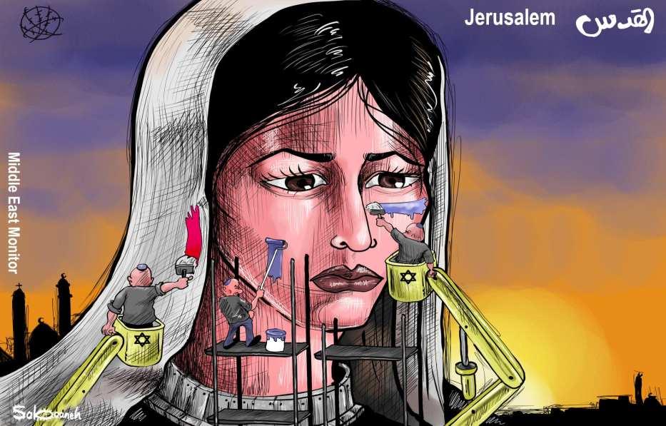 Judaisation of Jerusalem - Cartoon [Sabaaneh/MiddleEastMonitor]