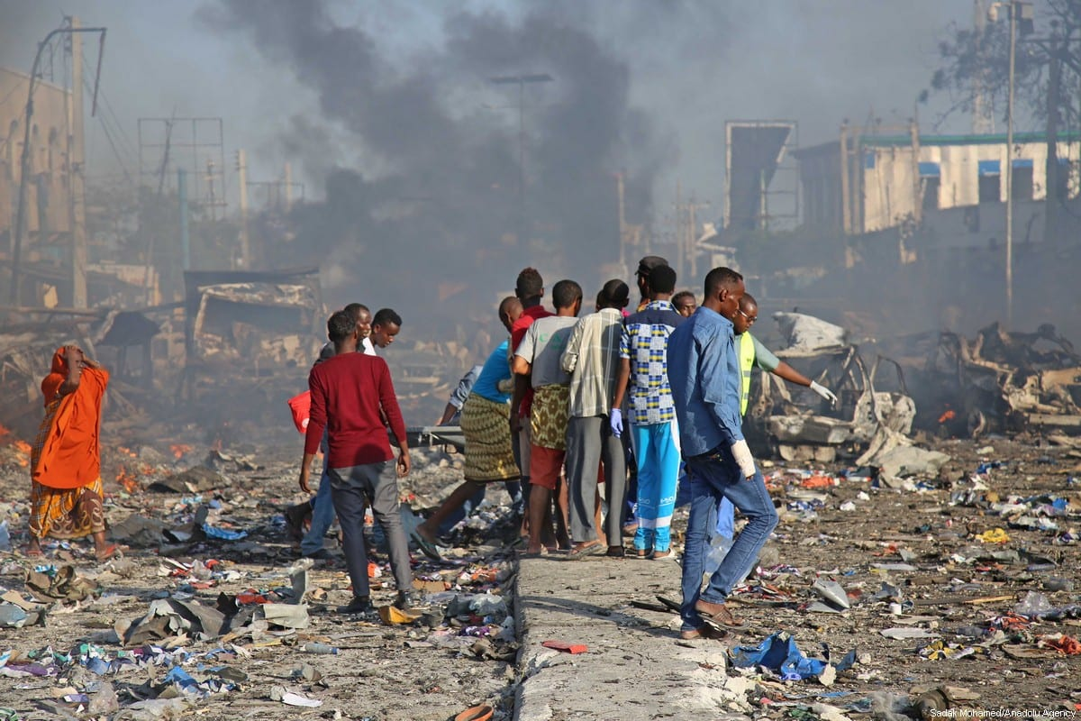 Scene of a massive explosion is seen in the capital Mogadishu, Somalia on October 14, 2017. At least 23 people have died and many others injured after a truck bomb detonated in Mogadishu. ( Sadak Mohamed - Anadolu Agency )