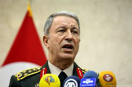 Chief of the General Staff of the Turkish Armed Forces Hulusi Akar speaks at a press conference on 2 October 2017 [Fatemeh Bahrami/Anadolu Agency]