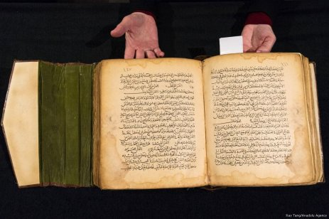 The Canon of Medicine on pathology and diseases, Mesopotamia dated back at 538 AH/1143-44 AD (est. £80,000-£120,000) is showing at the press view of the Modern and Contemporary Middle Eastern Art Sale in London, England on 20 October 2017 [Ray Tang/Anadolu Agency]