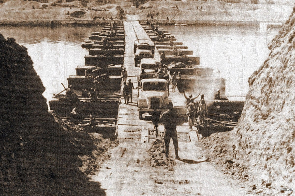 Egyptian forces crossing the Suez Canal on 7 October 1973, during the October War [Wikipedia]