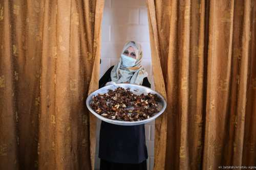 In the palm of her hand: A Palestinian woman in Deir Al-Balah, Gaza, displays the dates she is readying for sale on 18 October, 2017 [Ali Jadallah/Anadolu Agency]