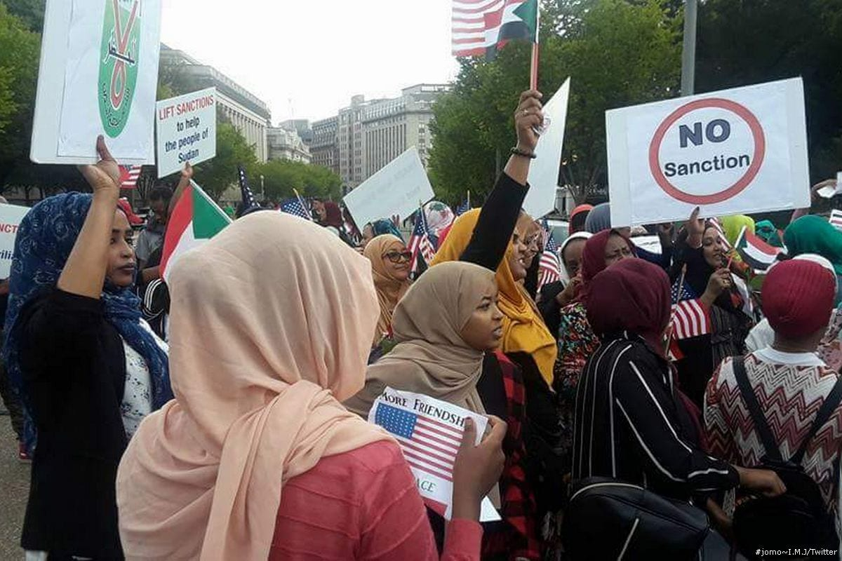 Protesters demonstrate against the US sanctions on Sudan on 19 September 2017 [#jomo~I.M.J/Twitter]