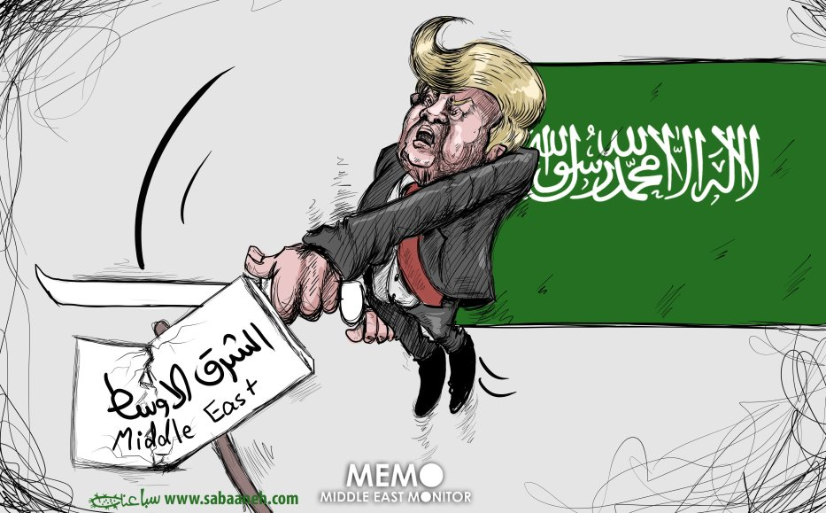 Trump detroying the Middle East with Saudi Arabia back-up - Cartoon [Sabaaneh/MiddleEastMonitor]
