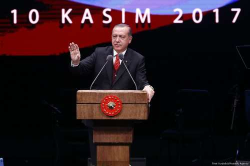 Turkish President Recep Tayyip Erdogan seen giving a speech commemorating 79th anniversary of Ataturk's death on November 10, 2017 [Mehmet Ali Özcan/Anadolu Agency]