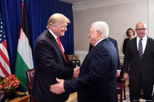 Palestinian President Mahmoud Abbas meets with US President Donald Trump in New York City, U.S. on 19 September 2017 [Thaer Ghanaim/Apaimages]