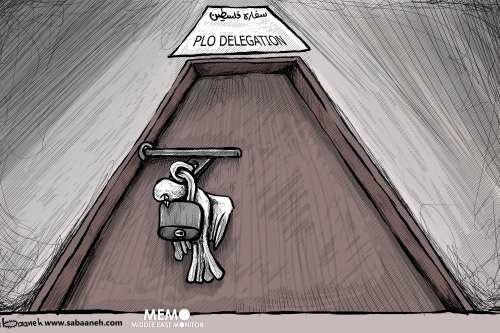 PLO delegation - Cartoon [Sabaaneh/MiddleEastMonitor]