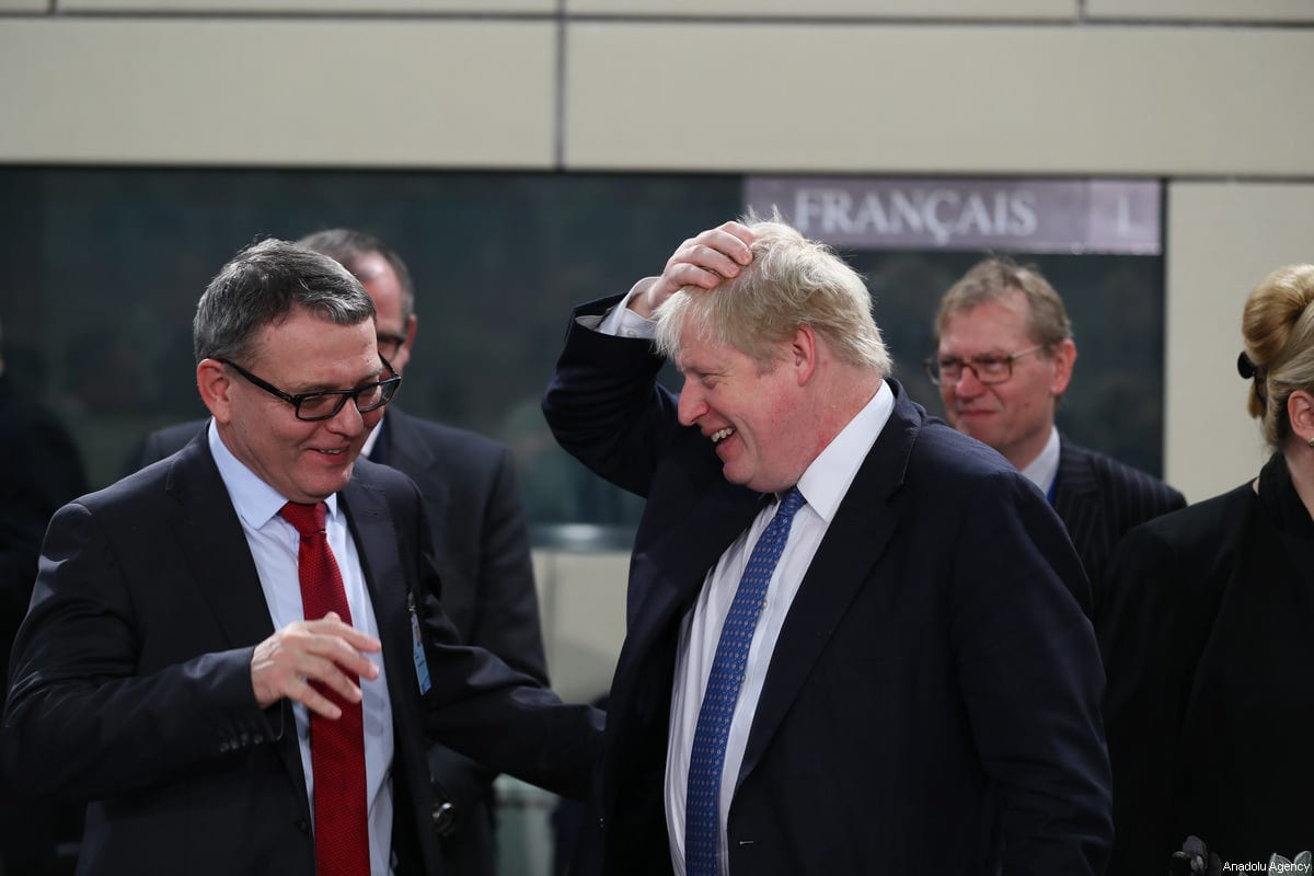 British Secretary of State for Foreign Affairs, Boris Johnson (R) speaks with Czech Foreign Minister Lubomir Zaoralek (L) during the second day of the NATO Foreign Ministers' meeting at NATO Headquarters in Brussels, Belgium on December 06, 2017 [Abdülhamid Hoşbaş / Anadolu Agency]